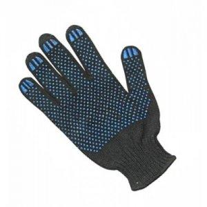 Перчатки х/б ПВХ черные 6-ти нитка ПЛЮС (уп 10)