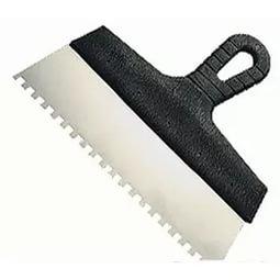 Шпатель зубчатый 200 мм с черной ручкой  нерж.сталь, зуб 8*8 мм